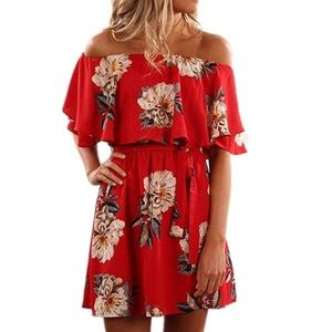Dresses & Skirts - Floral Off Shoulder Ruffle Sleeve Boho Dress